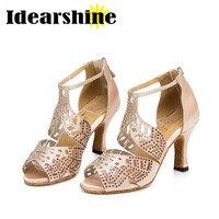 High Quality Rhinestone Dance Shoes Satin Latin Dance Shoes Salsa Party Tango Ballroom Shoes For Danceing