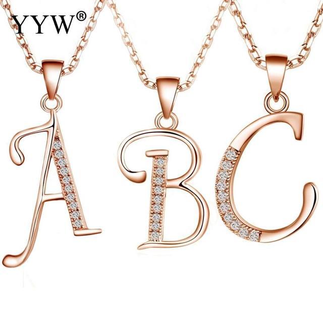 Fashion letter necklace pendants 925 sterling silver letter a to z fashion letter necklace pendants 925 sterling silver letter a to z cubic zirconia dangle charm choker aloadofball Choice Image