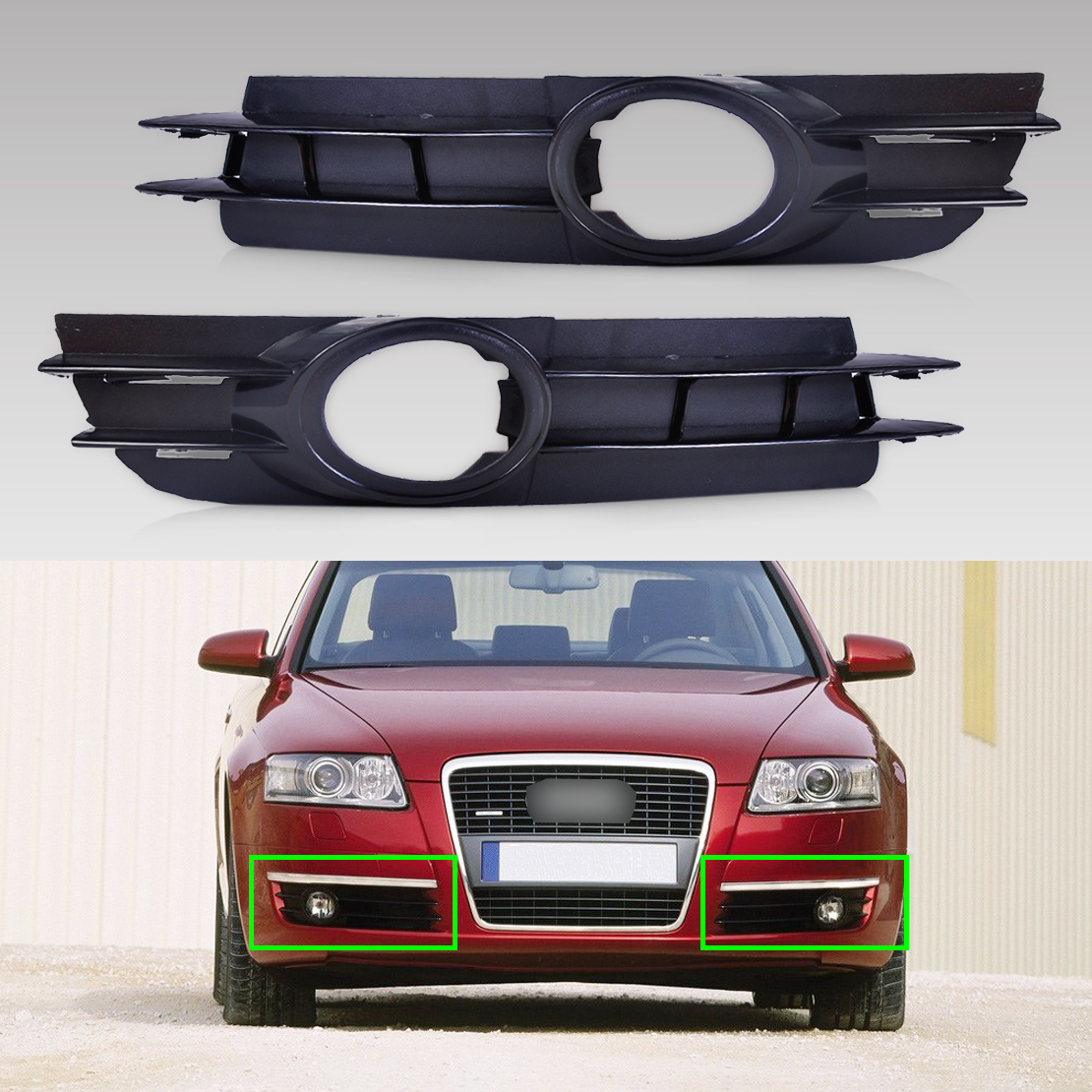 DWCX 4F0807681A / 4F0807682A 2PCS Front Left + Right Fog Light Lamp Grill Grille For Audi A6 / A6 Quattro C6 2005 2006 2007 2008 dwcx 2pcs front fog light lamp cover grille grill 2pcs lamp kit for ford fiesta 2014