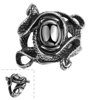 Crazy Halloween Party Gift Men Rings Vintage Snake Stainless Steel Onyx Ring Size 8/9/10/11 GMYR101 Wholesale Unisex Punk Rings