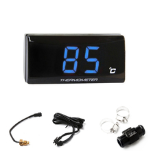 Blue Digital Water Temp Gauge Thermometer Sensor + 22mm Tee Connector for Motorcycle ATV
