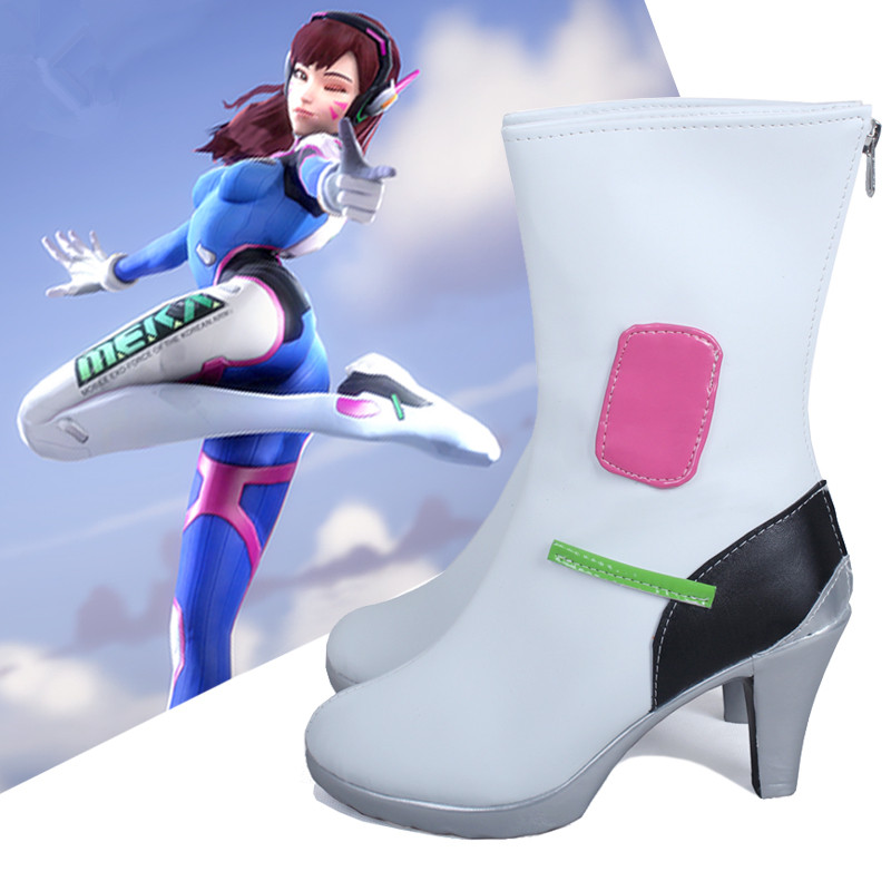 [Custom-made] Anime! Game OW <font><b>D.VA</b></font> High Heel Cosplay <font><b>Shoes</b></font> Costume Accessories PU Leather White Battle Boots Free Shipping image