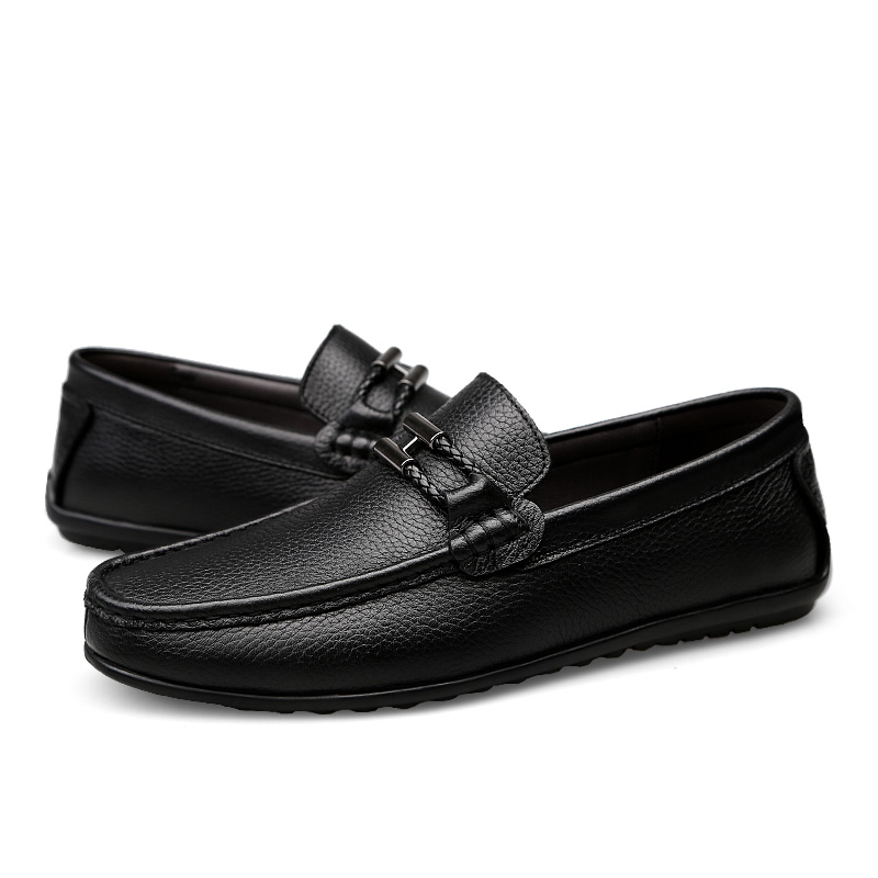 Men Loafers Casual Leather Spring Autumn Men's Flats Driving Boat Sneakers Black Genuine Leather Man Fashion Footwear