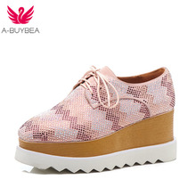 A-BUYBEA Size 34-43 New Fashion Platform Heels Women Shoes Crystal Lace-Up Casual Oxfords Real Leather Pumps