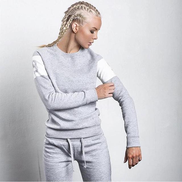 2016 Otoño y el Invierno de Algodón de Las Mujeres Letras Impresas Trajes Sportwear 2 Unidades Set