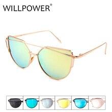 WILLPOWER Fashion Cat Eye Sunglasses Women Brand Designer Sun Glasses For Ladies Vintage REVO Mirror Lens Female Flat Lense