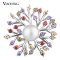20PCS/Lot Vocheng Ginger Snap Jewelry with Luxury CZ Stone Simulated Pearl Blossom Brass Material 18mm 6 Colors Vn-1636*20