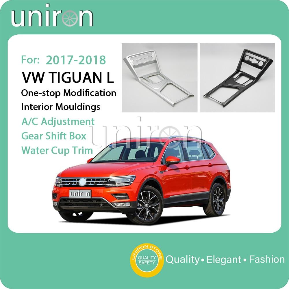 Uniron Air Conditioning Adjustment Gear Shift Box Panel Water Cup Trim All-in-one Frame ABS for VW Volkswagen Tiguan L 2017 2018 1 18 масштаб vw volkswagen новый tiguan l 2017 оранжевый diecast модель автомобиля