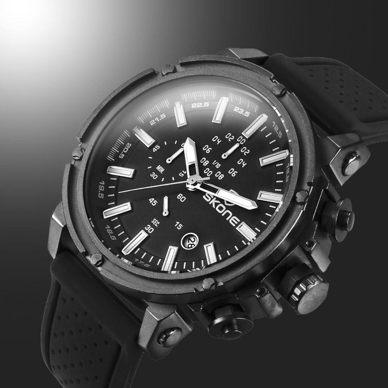 Prix pour SKONE Date Chronographe Sport Montres Hommes Étanche Résistant Aux Chocs Quartz-montre Silicone Montre Temps Heures relogio reloj hombre