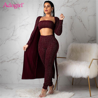 Adogirl Shining Silver Wire Ribbed 3 Piece Set Strapless Crop Top + Pencil Pants + Full Sleeve Extra Long Cardigan Fashion Suits