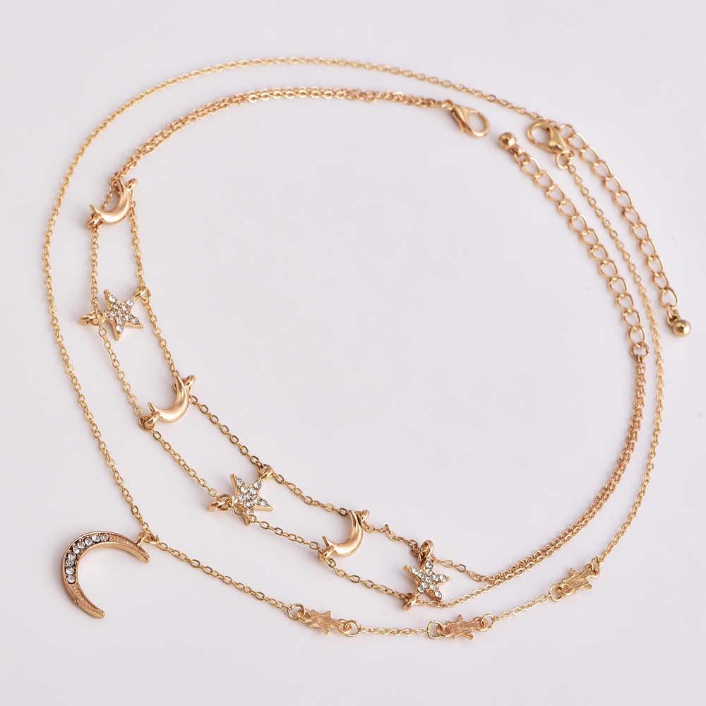 Nova personalidade popular colar estrela lua composto multicamadas colar feminino venda de acessórios de moda por atacado