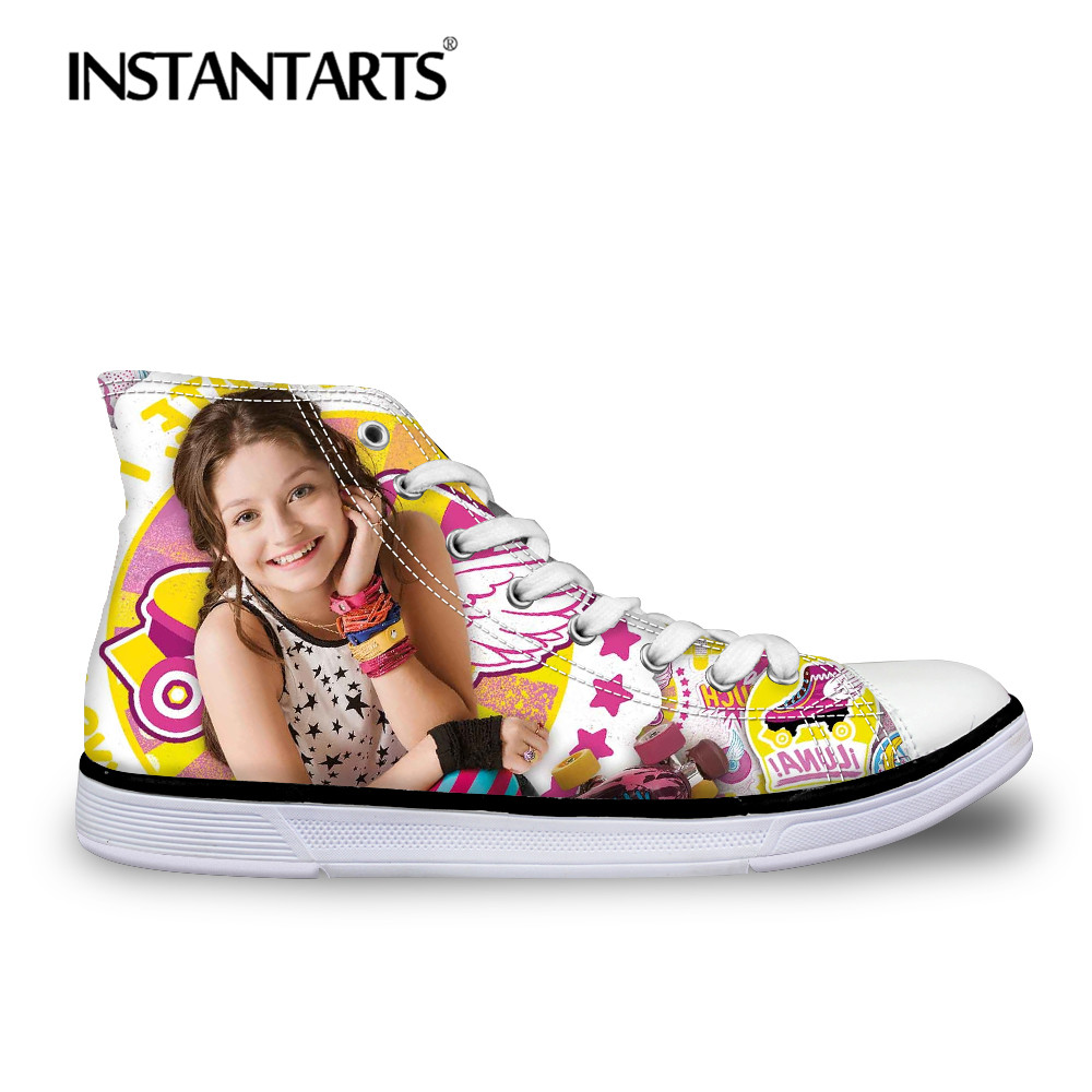 INSTNTARTS Women's Casual Lace Up Flat Shoes Autumn Comfortable Youth Girl Classic High-top Canvas Shoes 3D Soy Luna Print Flats soy luna live toulouse