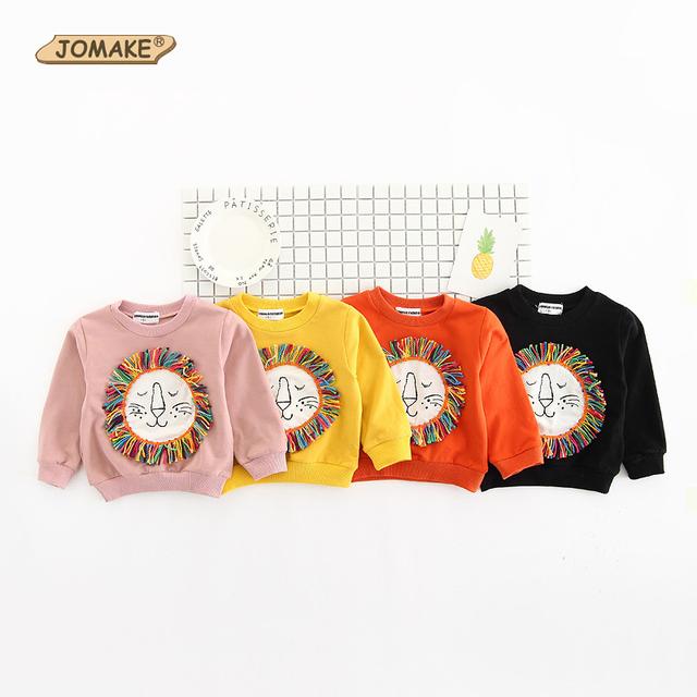 2017 nova moda primavera outono camisolas crianças hoodies do bebê crianças bonito dos desenhos animados leão borla clothing meninos partes superiores das meninas pullover