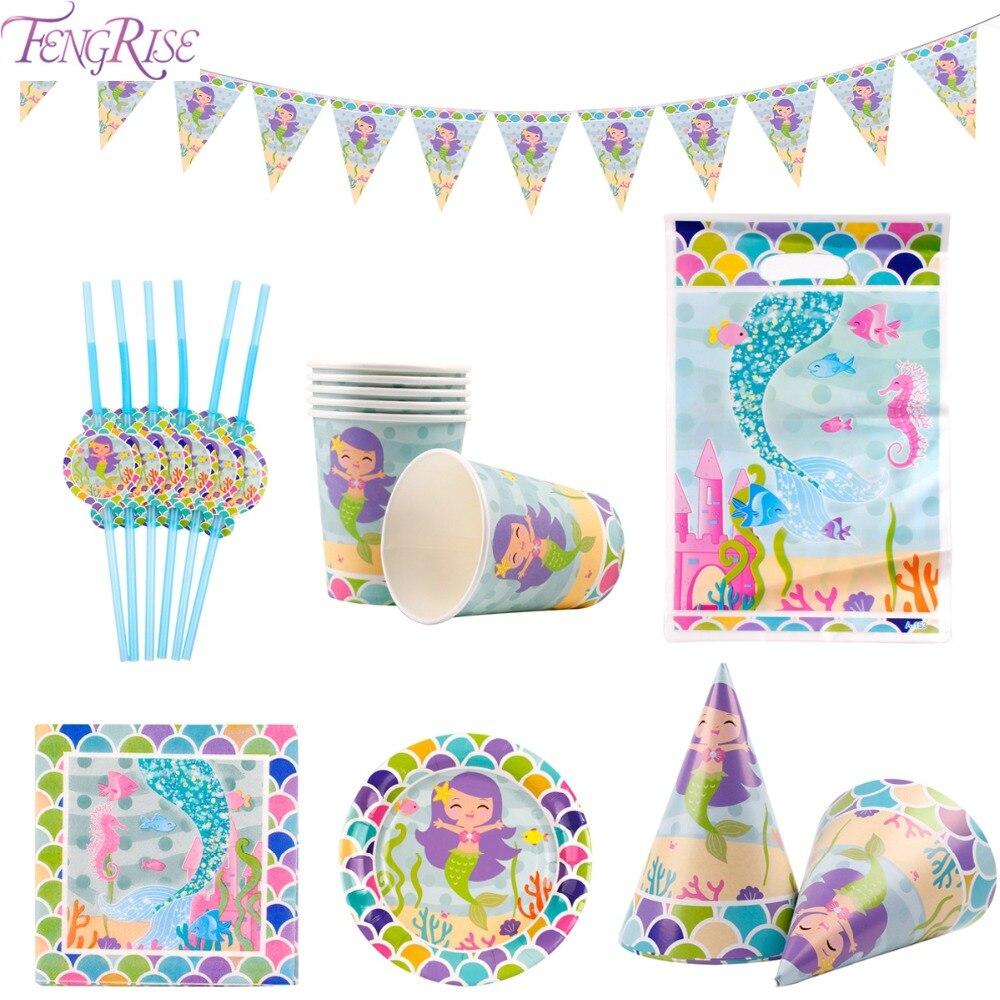 FENGRISE Tableware Set Mermaid Party Supplies Tableware For Kids Happy Birthday Party Mermaid Theme Banner Cups Paper Plates str