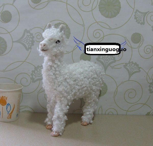 cute simulation sheep toy lifelike handicraft plastic&fur Alpaca doll gift about 20x8x24cm