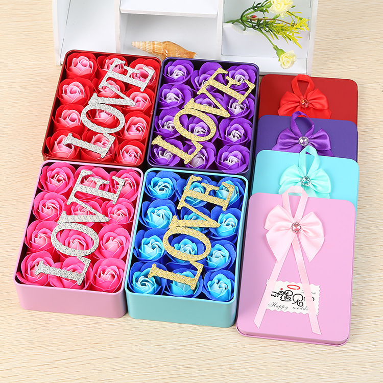 12pcs/box 14*10*4.5CM Romantic Rose Soap Flower With Love And Metal Box Creative Valentines Day Gift / Wedding Gift/Birthday Gi