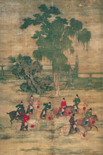 Top 100 traditional Chinese painting canvas scenery prints modern decor eight friends in ancient polo contest by Zhao Yan