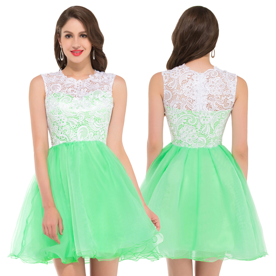 3f5ef7cc56 2018 New High Neck Embroidery Elegant Short Evening Dresses 2018 Green Black  White Purple Blue Pink Colorful Lace Gowns 6123