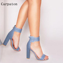 Fashion Hot Sale Women Denim Ankle Strap Big Buckle Summer Sandals Sexy Open Toe Chunky Heels Female Dress Party Sandal Shoes