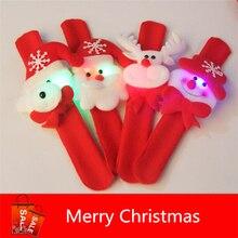 4 шт./лот 2016 Новый Рождественский Подарок Для Детей Освещенные Игрушки Браслеты Ноэль Украшения Снег Санта-Старый Санта Медведь Лося круг