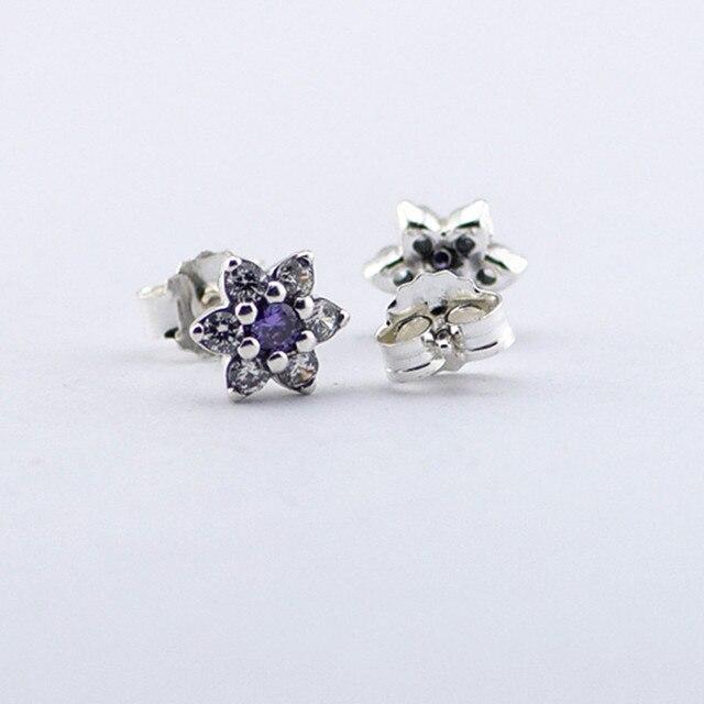 European Silver Earrings Silver Forget Me Not, Purple & Clear CZ Earring Earrings  Sterling Silver Earring Wholesale Jewelry