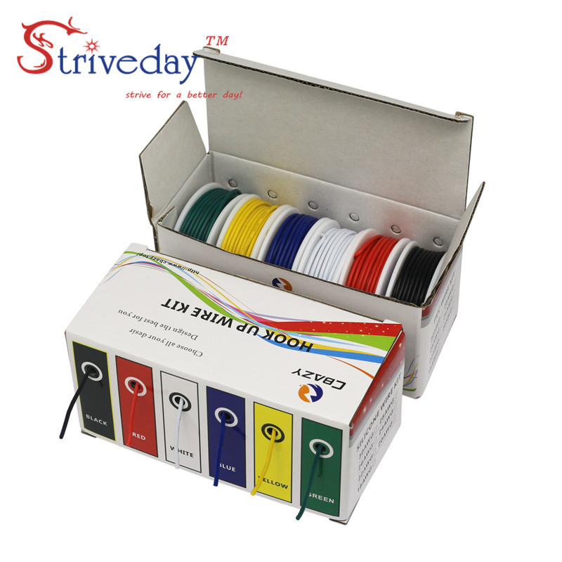 60 m/box( 6 colors mix Stranded Wire Kit) UL 1007 28AWG Electrical Wire Cable line Airline Copper PCB Wire 32.8 feet each colors