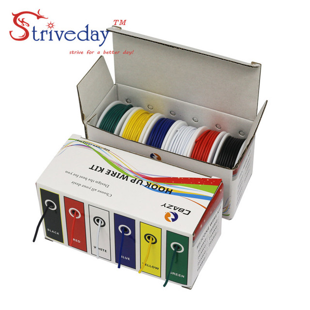 UL 1007 28AWG 60meters Electrical Wire Cable Line 6 colors Mix Kit Airline Copper PCB Wires stranded wire DIY