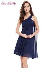 [Liquidação] Cocktail Vestidos Sempre Bonitas HE03537 Um Ombro Ruffles Acolchoado Chiffon Vestido Curto 2017 Vestidos de Coquetel(China)