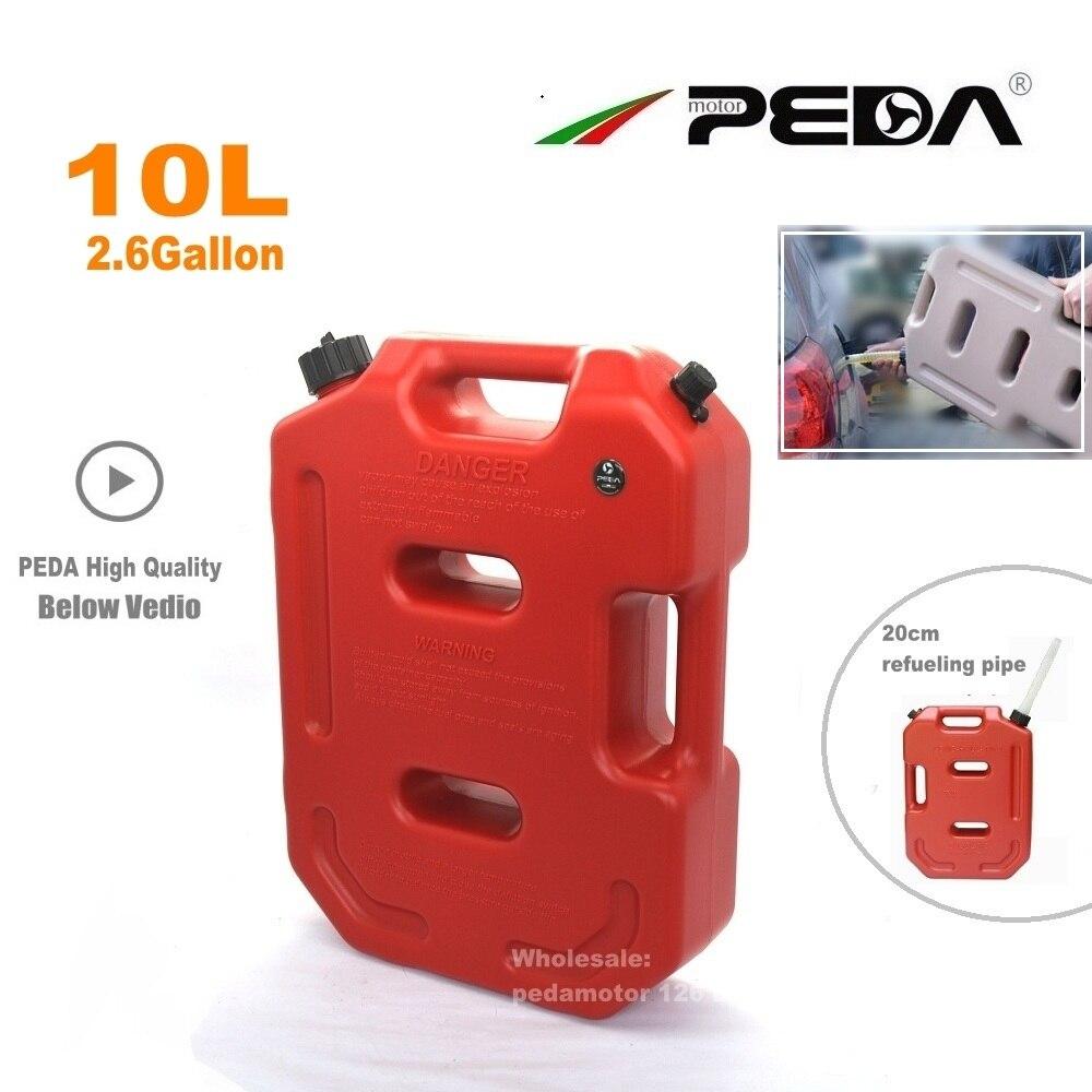 10L GAZ Peut Jerrican ROUGE Portable réservoir de carburant En Plastique diesel boîtes ATV Kart Utv Moto réservoirs à essence montage bec ravitaillement