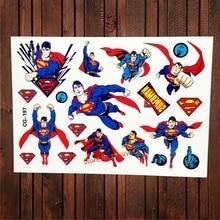 Superman Waterproof Temporary Tattoo Fake Flash Water Transfer Tattoo Sticker Child Super Heros Kids Boys Xmas Gifts Tatoo Comic