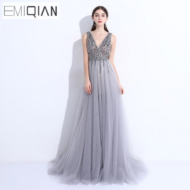 Beaded Pearls Pageant Gown Sexy V Neck Front Slit Gray Tulle Long Formal Evening Dresses robe de soiree