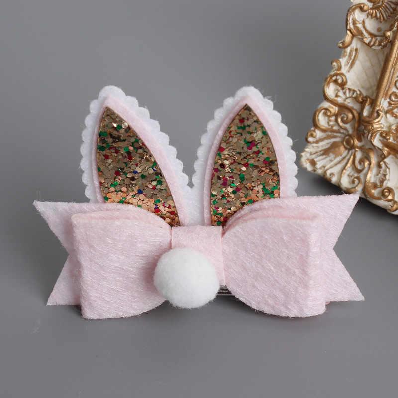 cf0c383a6dee ... Baby Toddler Girls Easter Bunny Hair Clip, Glitter bunny ears hair bow  Clips DIY Hair ...