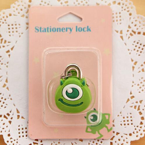 1X милый мультфильм Kawaii животные багажная сумка металлический замок журнал дневник пароль Блокировка файл держатель канцелярские принадлежности - Цвет: green 1 eye