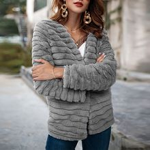 Elegant Women Coat Long Sleeve Slim Warm Outerwear Fashion Winter Fluffy Faux Rabbit Fur