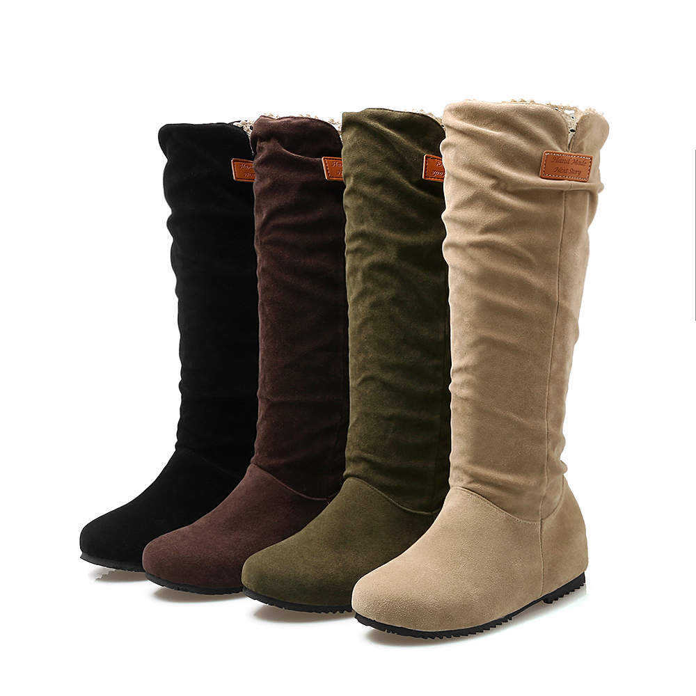 2016 new fashion ladies shoes and leg scrub round female boots black Brown Beige green army