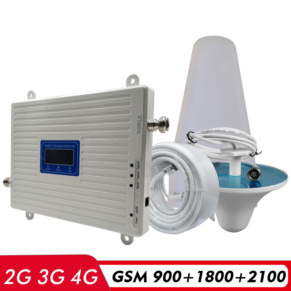 65dB Gain Tri Band Booster GSM 900+DCS/LTE 1800+UMTS/WCDMA 2100 Mhz Cell Phone Signal Repeater 2G 3G 4G Network Signal Amplifier