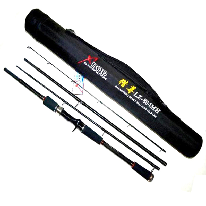 ФОТО Free Shipping 4 Sections 2.1m 2.4m 7ft 8ft MH Action Carbon Lure Fishing Rod Strong Bait Casting Rod  Tackles
