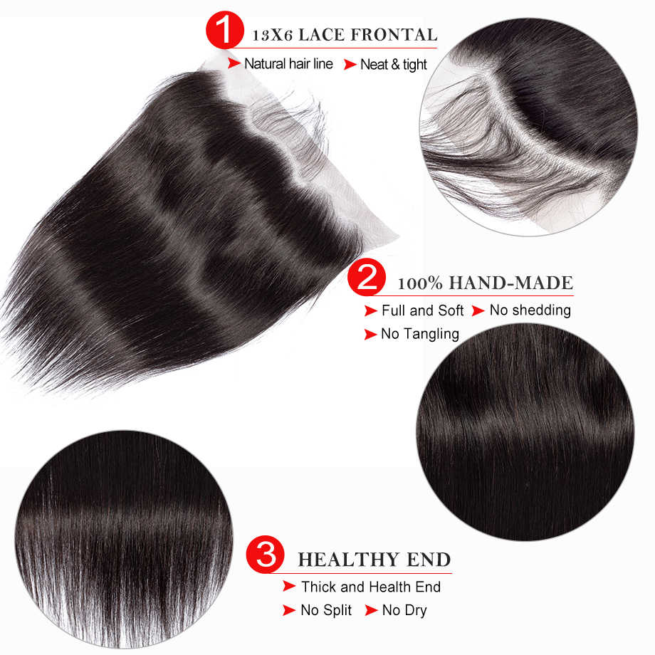 Mobok Hair Ear to Ear Lace Frontal Closure 13*6 Free Part With Baby Hair Brazilian Straight Human Hair Remy Hair
