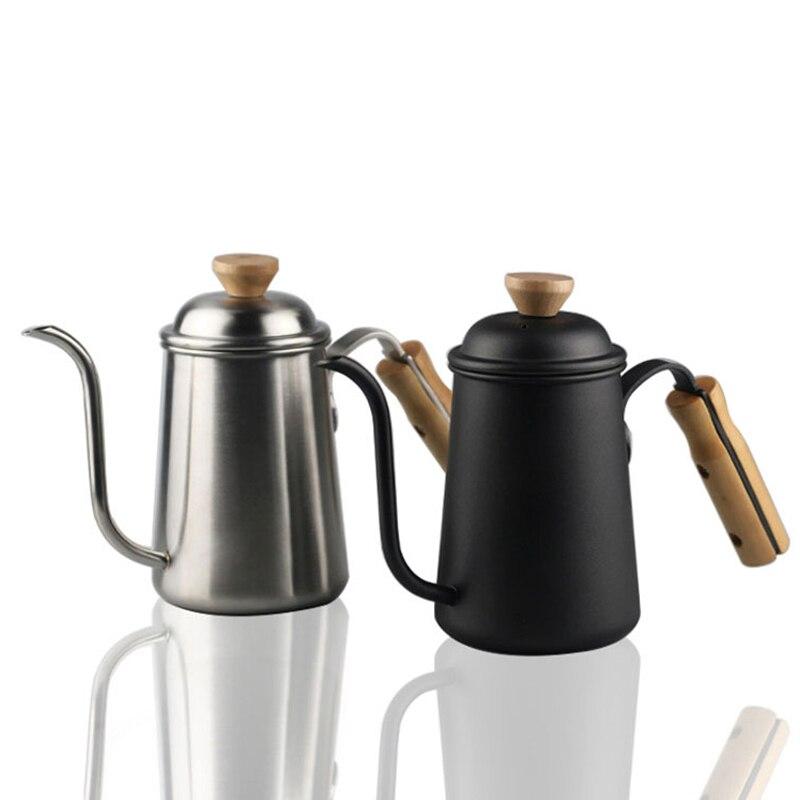 Cafetière à Long bec étroit-304 en acier inoxydable en bois verser à la main sur la bouilloire à col de cygne goutte à goutte Pour cafetière