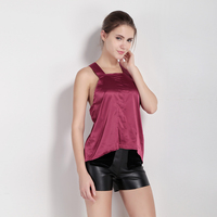 MY MAYAASOS Backless Basci Tops Women Sleeveless Cold Shoulder Female Pullover Top High Low Solid Purple Pleated Casual T-shirt