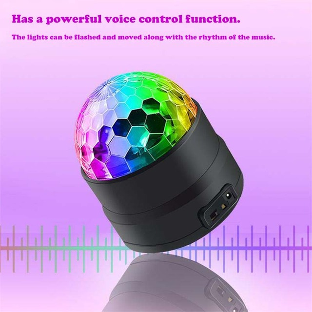 BRIGHTINWD New Dj Voice Control USB Mini Led Stage Light Disco Ktv Bar Room Family Party Crystal Small Magic Ball Light Flash 4