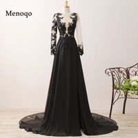 Original Photo A line Long Sleeve Chiffon Lace 2019 Special Occasion Formal Dresses Elegant Women Prom Dresses Black 0213 PRD