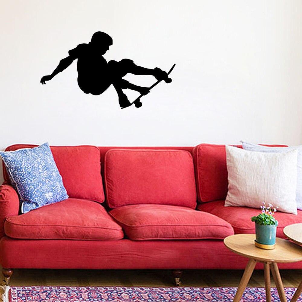 Skateboarder Skate Board Stars Wall Stickers Boy Removable Wall Sticker Mural Room Home DIY Adhesive Wallpaper Mural SA433