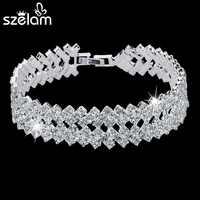 SZELAM 2019 Neue Strass Kristall Armbänder Für Frauen Mode Silber Armbänder & Armreifen Braut Hochzeit Schmuck SBR150218