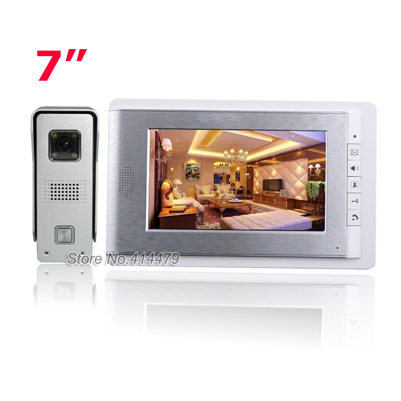 Hot Home Wired Video Door Phone Intercom Entry System 7 inch TFT Color Monitor 700TVL Metal Night Vision Camera 7 inch color tft lcd wired video door phone home doorbell intercom camera system with 1 camera 1 monitor support night vision