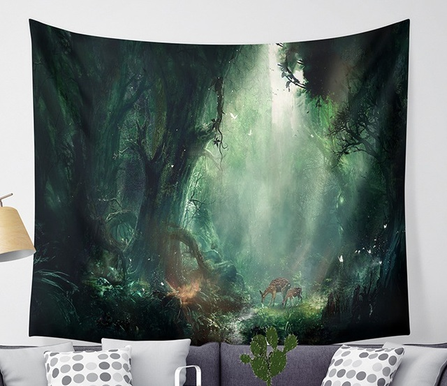 CAMMITEVER Magical Fantastic Forest  Tapestry Wall Hanging Rectangle Wall Hanging Tapestry Decoration Wall Fabric Tapestries