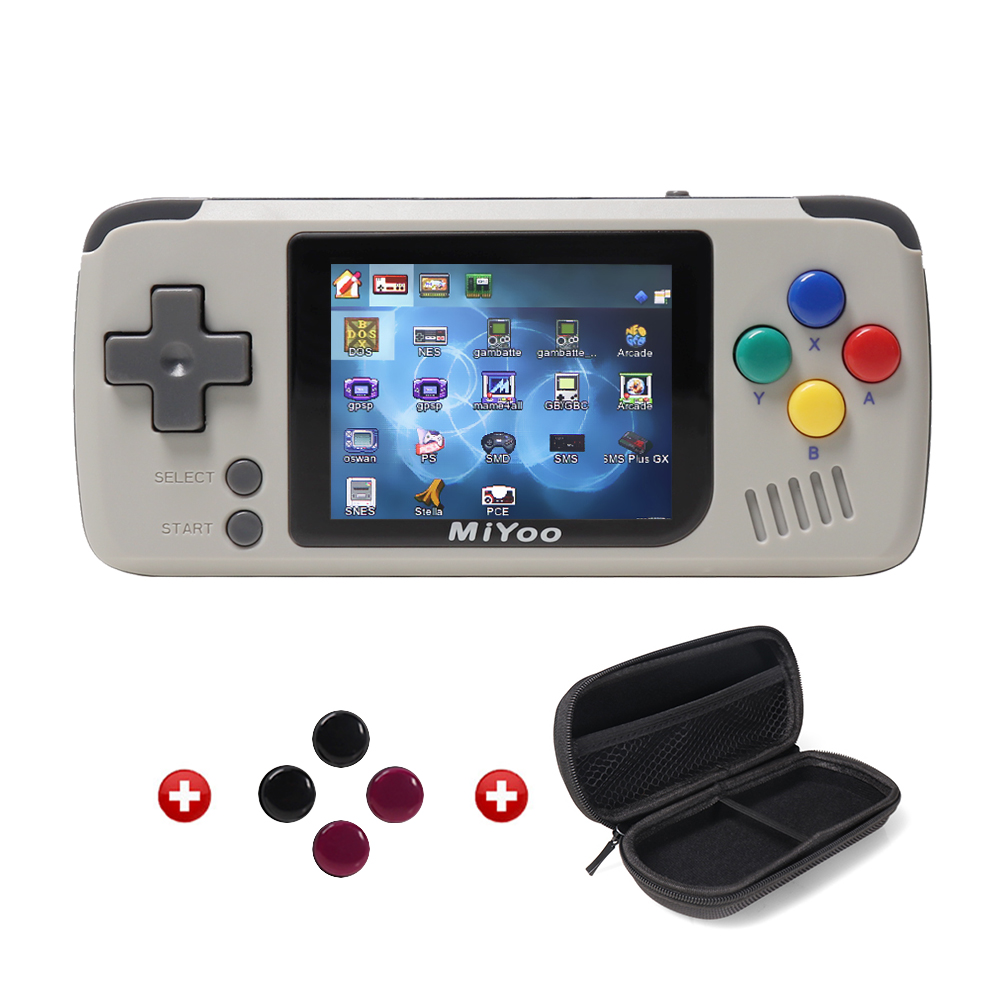 MIYOO -Video Game Console- Portable Handheld Retro Game Players Progress Save/Load Micro SD Card External Colorful Screen-Grey