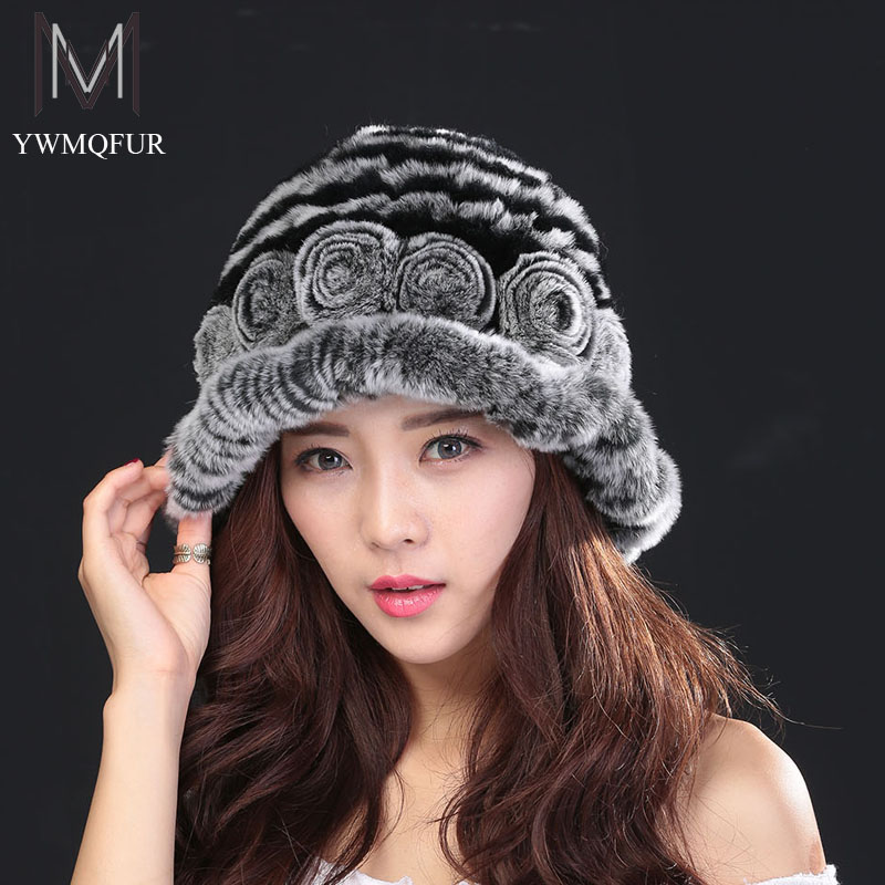 free shipping 2016 Women Winter Hats Beanies Knitted Cap Crochet Hat 100% Rabbit Fur Pompons Ear Protect Casual Caps Hot Sales the lowest price free shipping fashion hot women winter hat knitted hat winter hat knitted women s