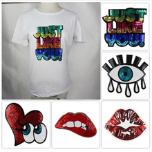 New eyes lip letter sequins patches fashion big embroidered diy craft sew on the clothes repair hole for sweater