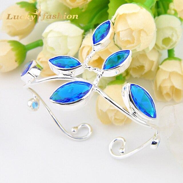 Promotion 2PCS 1Lot Luckyshine Fire Unique Blue Created Topaz Silver Plated Flower Bangles Russia Australia Bracelets Bangles